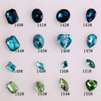 Shaped glass diamond pointed bottom drilling false nail diy material nail art tyranids drill lake blue