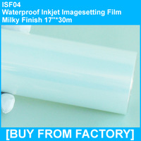 "Waterproof Inkjet Printing Film Milky Finish 17""*30m"