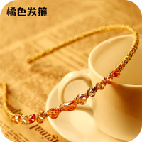Min order is $10  accessory color block multi-colored irregular crystal gold hair bands Headband