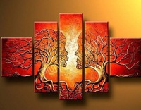 Love Tree Kiss beauty 5 panel abstract oil painting Landscape oil painting  on canvas no framed wall art decorative pitures