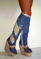 The new blue denim high-heeled boots waterproof cool