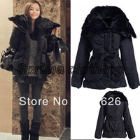 M,L Women's Ladies Winter Warm Outwear Fur Collar Cotton-Padded Coats wadded jacket Black free shipping 9556