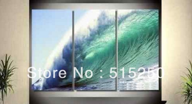 Pure hand-drawn MODERN ABSTRACT CANVAS ART OIL PAINTING WAVES 3PC (NO framed)(China (Mainland))