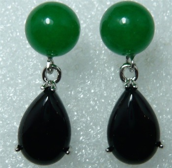 Fashion jewelry!Wholesale - 18K White Gold GP- Green Emerald Round & Black Agate Drop Shape Stud Earring(China (Mainland))