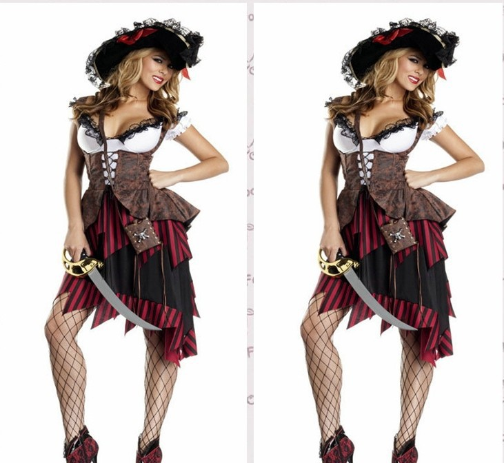 2013 new women pirate costumes,asymmetric women halloween costume,game party dress Free shipping PSN2025(China (Mainland))