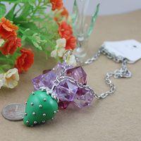Z 4 strawberry green necklace full rhinestone quality abc jewelry
