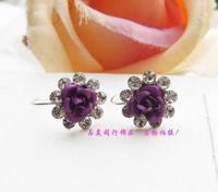 Gentle rhinestone rose earrings stud earring no pierced