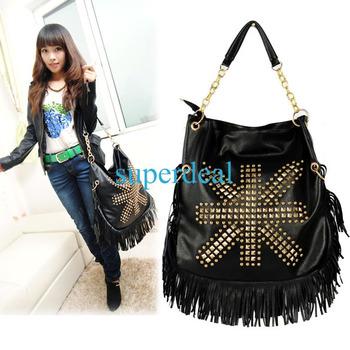 2013 Trend Fashion Of the Women's Handbag Black New Retro Rivet Fringe Tassel Handbag Big Shoulder Bag 6531
