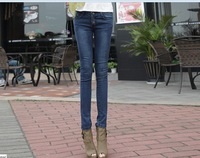 new  and clasical cheap jeans for women with special feet hem decoration