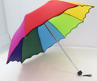 Ruffled rainbow umbrella, wavy edge rainbow three umbrellas Free shipping Minimum one Order