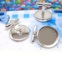 4PCS Silver plated 16mm cabochon settings movable cufflinks #23035