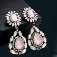 Wholsale new pink crystal pendant earrings,  top fashion zircon earrings, fashion earrings 3 pairs / lot  FREE shipping