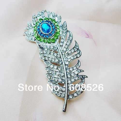 صور مجوهرات الطاوس Free-shipping-1-piece-Emerald-clear-Crystal-font-b-Peacock-b-font-Feather-font-b-rhinestone
