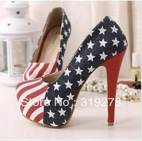 Free shipping 2013 women hot saling Fashion Sexy High Heels Blue Jean cloth shoes/Ladies casual  shoes pumps Pluz size34-40 L504