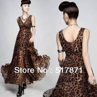 Free Shipping novelty elegant party dresses 2013 new fashion long summer dresses women beach maxi plus size Leopard grain dress