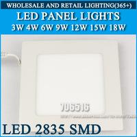 20PCS/lot High brightness LED Panel Lights ceiling lighting Square 3W 4W 6W 2835SMD Cold white/warm white AC85-265V