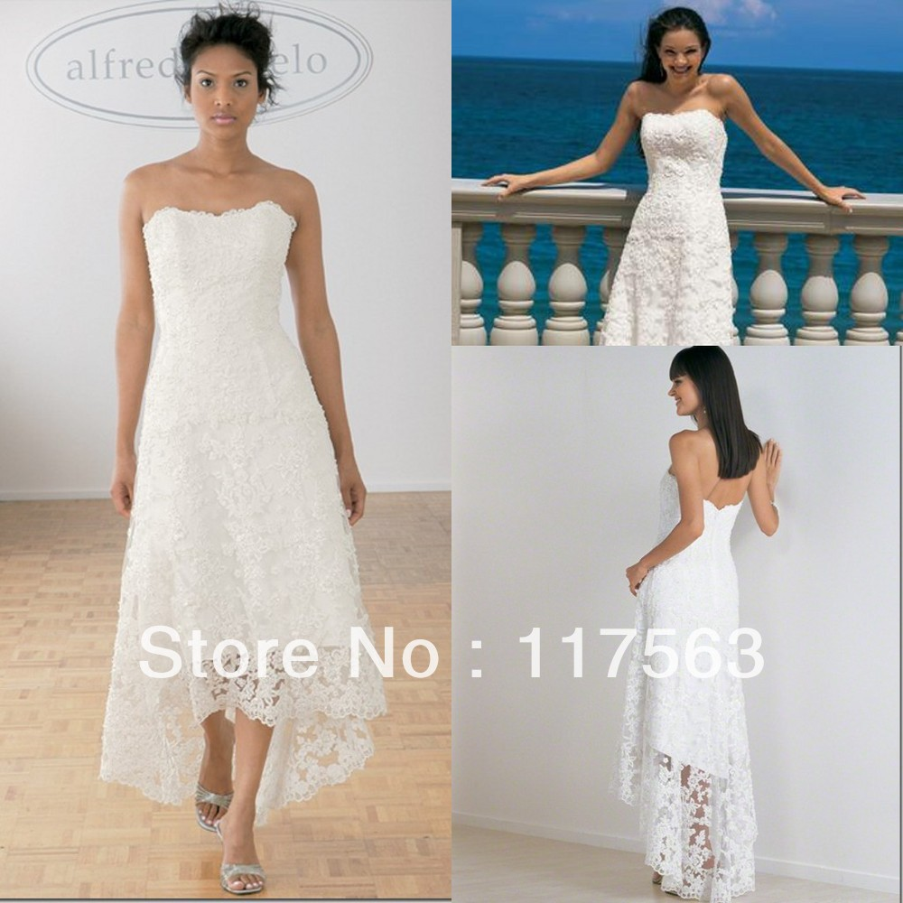 Beach design white front short long back lace tea length wedding dress HS031(China (Mainland))