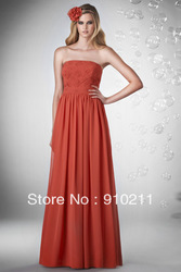 Sweet yet Cool Strapless Pleated Bodice Chiffon Long Affordable Bridesmaid Dresses(China (Mainland))