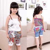 Free shipping Medium-large girls child summer clothing female summer short-sleeve 2012 T-shirt sports set child set