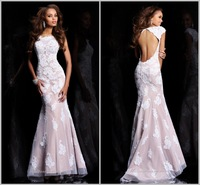 Free Shipping  Floor Length Cap Sleeve Lace Chiffon Appliqued Prom Dresses 2013 Evening Dresses (MD2012)