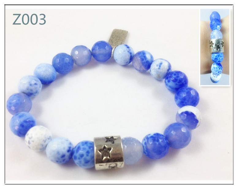 10mm bead agate bead bracelet with star bead(China (Mainland))
