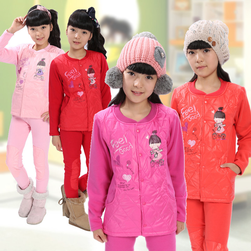Free shipping9-10-11-12-13 -14 -15large female child thermal underwear autumn and winter long sleeve length pants teenage female(China (Mainland))