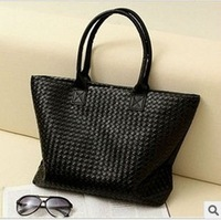 Hot Selling Women PU Leather Handbag,Tote Shoulder Bags, large capacity PU weave bags ,fashion design free shipping wholesale