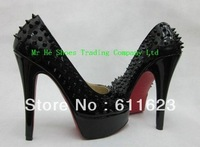 Free shipping 14cm platform pump patent leather,Peep toe wedding shoes studs spikes red bottoms high heel drop shipping