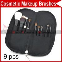 9 PCS Pro Eyelash Eyebrow Lip Eye Sponge shadow Eyeshadow Blusher Brushes Cosmetic Makeup Make up with Leather Case 2925