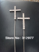 Wholesale (50pcs/Lots) Rhinestone Cross Cake Topper Jewelry for Chistianity