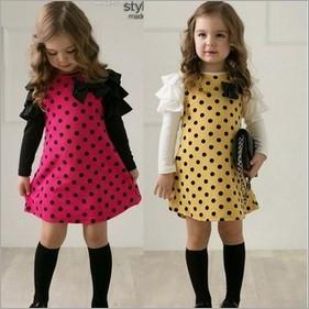 5pcs/lot girls long sleeve fashion bowknot patchwork dots dress children spring and autumn cotton dress TZ0569