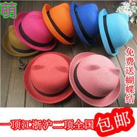 Cat ears strawhat fedoras summer women's bear parent-child cap sunbonnet beach hat