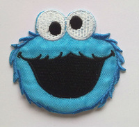 Embroidered Blue Sesame Street Elmo Cloth Iron On Patch Sew On Applique Badge Children Cartoon Patch  DIY accessory 10pcs/lot