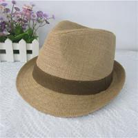 Original linen hats brown khaki jazz fedoras hat