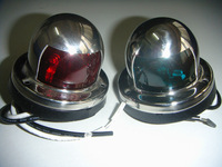 Pair of Stainless Steel Red and Green Bow Navigation Lights for Boats - 1 Mile