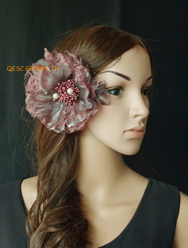 15cm lace silk flower for Fascinators/sinamay hat/church hat/organza hat races w/ pearls,heather pink,FREE SHIPPING.