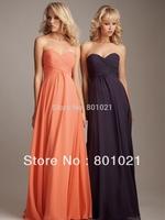 Hot Sale Long Chiffon Bridesmaid Dress 2013 Promotion Sweetheart Pleated Dresses