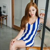 2014 new hot fashion women clothing cotton cute lace casual vintage career sheath sheath mini sexy dress  Stripes wild WA