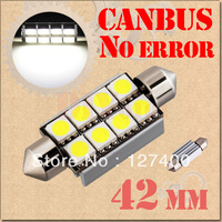 2pcs 42mm 8 SMD 5050 Pure White Dome Festoon CANBUS OBC Error Free Car 8 LED Light Bulb Lamp