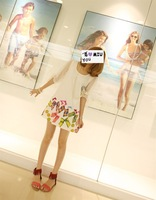 2014 Fashion Bow chiffon short-sleeved summer dress