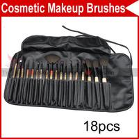 18 PCS Pro Eyelash Eyebrow Lip Eye Sponge shadow Eyeshadow Blusher Brushes Cosmetic Makeup Make up with leather Case 2929