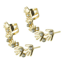New Fashion Creative Rhinestone Smale Hand Shaped Ear Cuff Earrings Ear Clip Free Shipping