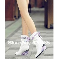 Free shipping female spring and autumn boots japanned leather wedges sweet single high-heeled boots