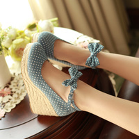 Millenum women's shoes new arrival 2014 wedges platform dot bow denim high-heeled shoes ol shoes
