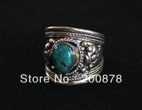 R137   Tibetan silver inlaid Turquoise Dorje Amulet Ring,India Nepal Antiqued Man Vintage Ring