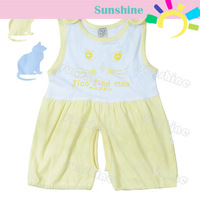 Wholesale 4pcs/Lot Baby Vest Short Sleeve Coverall Baby Jumpsuit Romper Baby Sleep Suit 3-24M 2Colors 14146