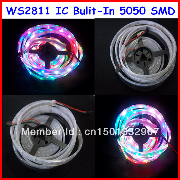 5m WS2811 LED digital pixel strip,60leds/m with 60pcs WS2811 built-in the 5050 rgb led chip;waterproof ip67 tube DC5V input(China (Mainland))