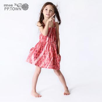 Pptown children's clothing female child summer one-piece dress holiday 2013 female child wind 0753 one-piece dress