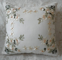 cotton hand ribbon embroidered cushion cover stereo pillow cover with flower designs without filling  E005