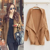 Women 2013 fashion Knit Top Sweaters loose batwing sleeve medium-long sweater vintage cardigan outerwear coat Free Shipping